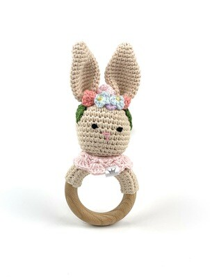Crochet Teething Ring Rattle - Bunny Flower Headband