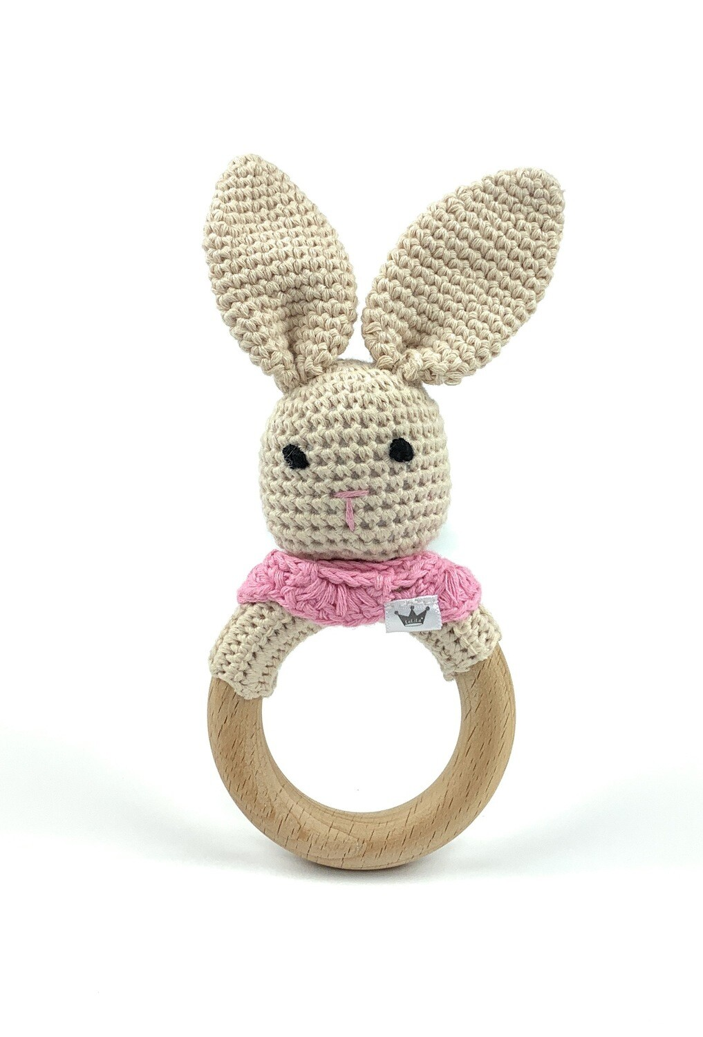 Crochet Teething Ring Rattle - Bunny Pink Scarf