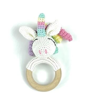 Crochet Teething Ring Rattle - Unicorn