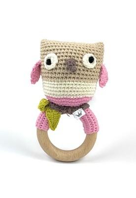 Crochet Teething Ring Rattle - Owl