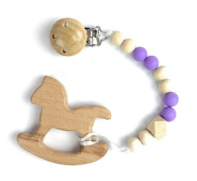 Wooden Teether w. Pacifier Clip - HORSE
