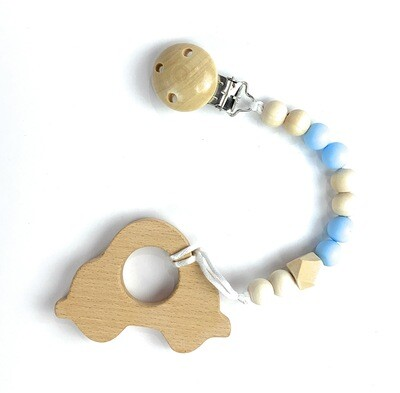 Wooden Teether w. Pacifier Clip - CAR
