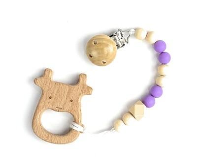 Wooden Teether w. Pacifier Clip - ELK