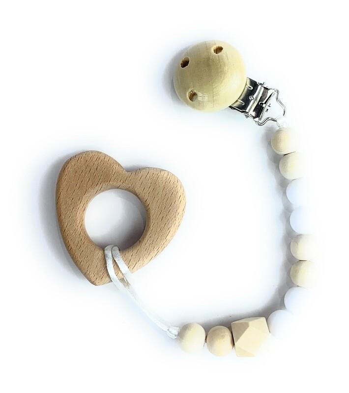 Wooden Teether w. Pacifier Clip - HEART