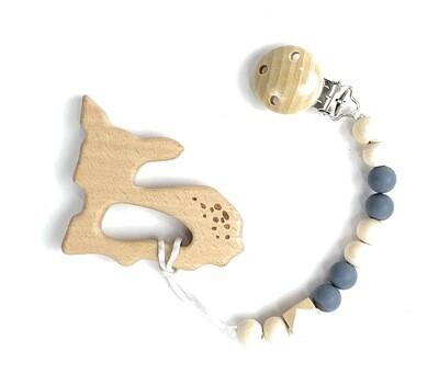 Wooden Teether w. Pacifier Clip - DEER