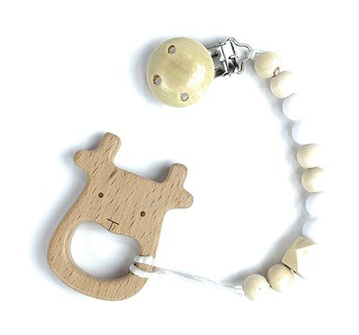 Wooden Teether w. Pacifier Clip - ELK