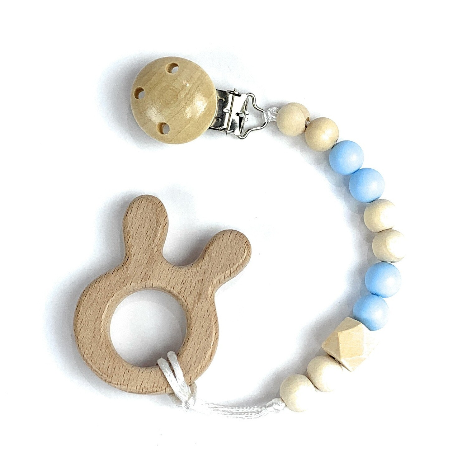 Wooden Teether w. Pacifier Clip - BUNNY