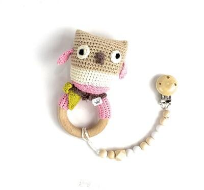 Owl w. Pacifier Clip