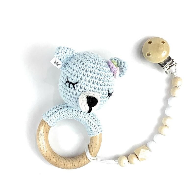 Bear Blue Girl w. Pacifier Clip