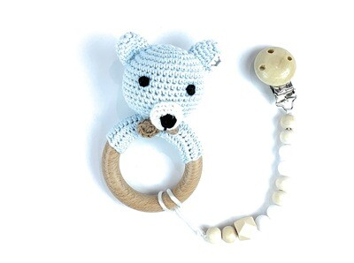 Bear Blue Boy w. Pacifier Clip