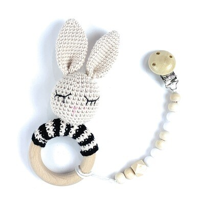 Bunny with black stripes w. Pacifier Clip
