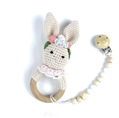 Bunny with flower headband w. Pacifier Clip