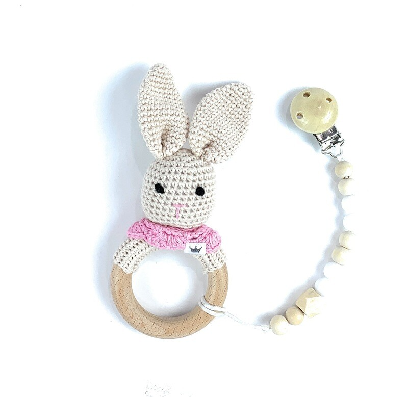 Bunny with pink scarf w. Pacifier Clip