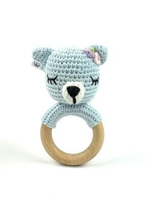 Crochet Teething Ring Rattle - Bear Blue Girl