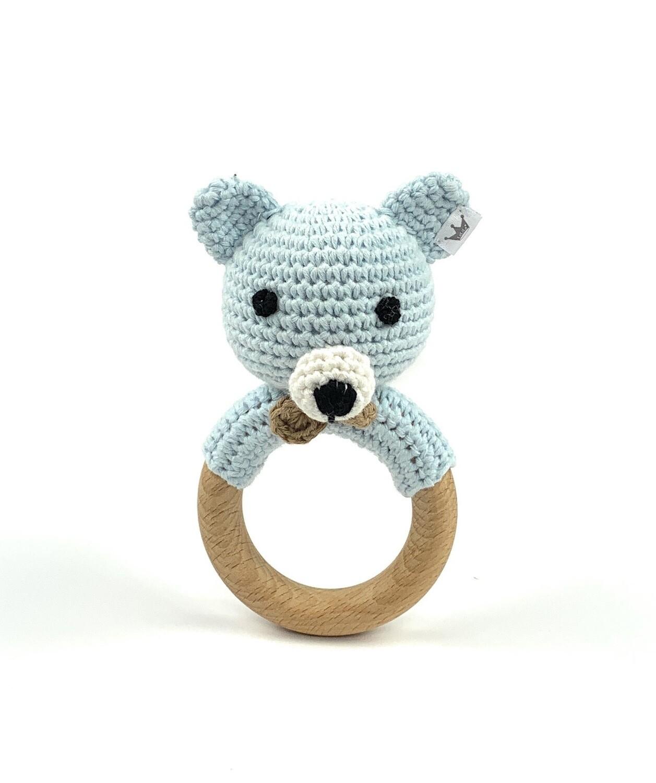 Crochet Teething Ring Rattle - Bear Blue Boy