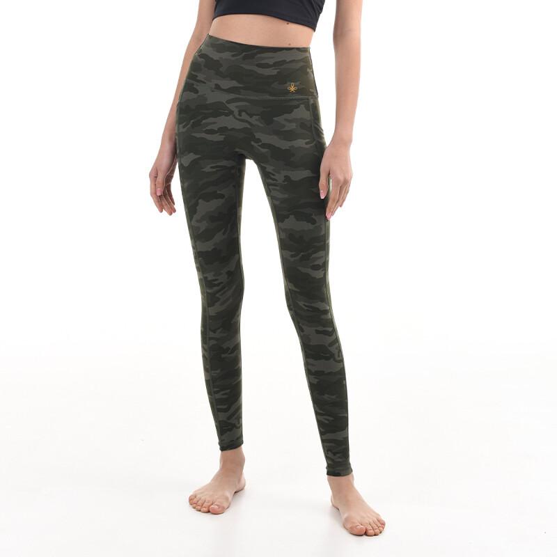 Leggings Yoga Pants with pockets - green camo