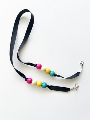 Mask Holder - Black with pearls (pink)