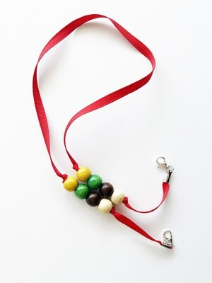 Mask Holder - Red with pearls