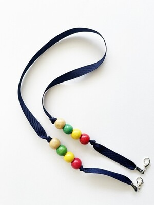 Mask Holder - Blue with pearls (red)