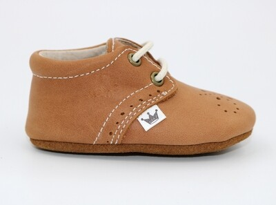 Oxford Lace-up Leather Shoes - Brown with dots