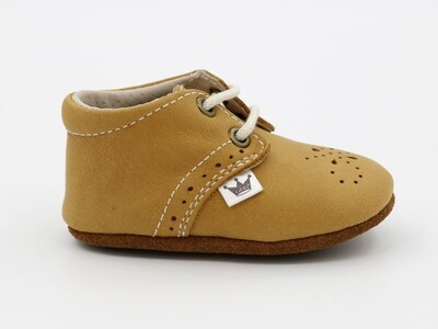 Oxford Lace-up Leather Shoes - mustard with dots