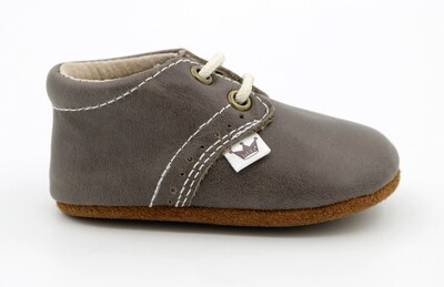 Oxford Lace-up Leather Shoes - Grey