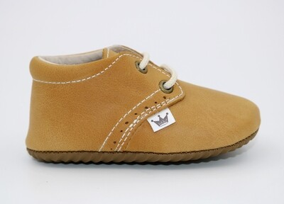 Oxford Lace-up Leather Shoes - mustard