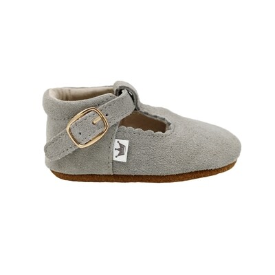 Ribbed Edge  T-Bars - Grey Suede