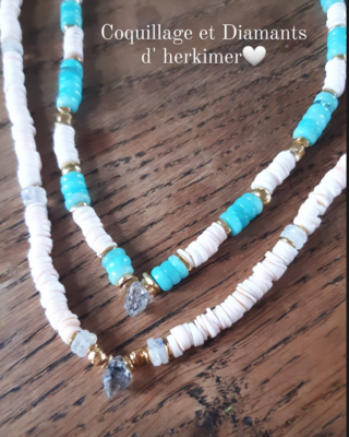 Collier Coquillages et  diamant D'Herckimer