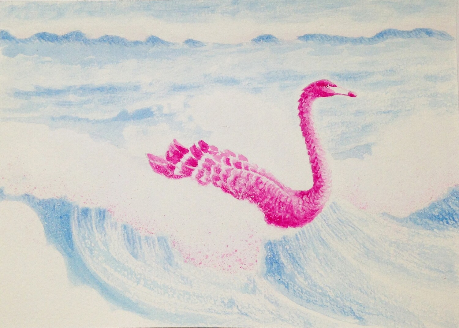 'Dragon Swan' from the watercolour series 'Pink Swan Event'
