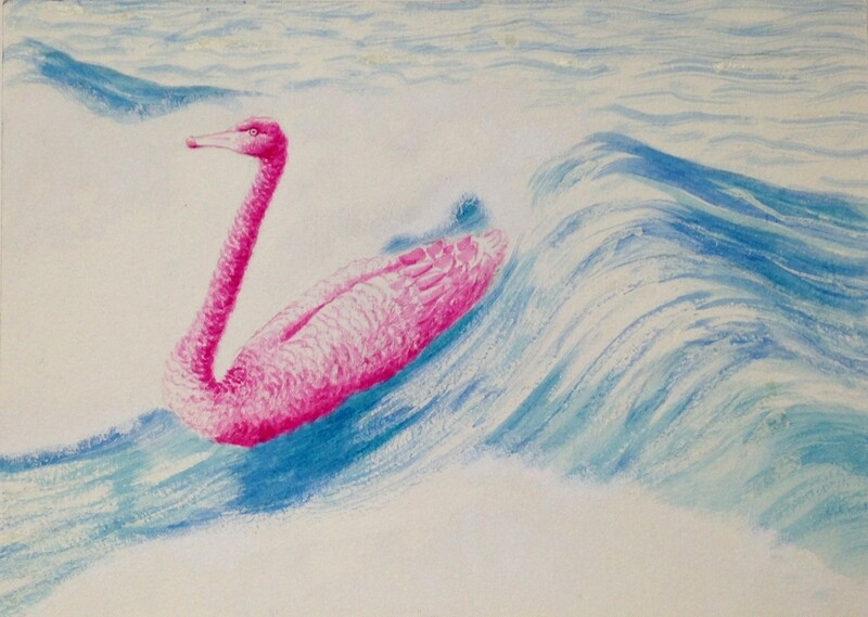 'Tickled Pink Body Surf' from the watercolour series: 'Pink Swan Event'.