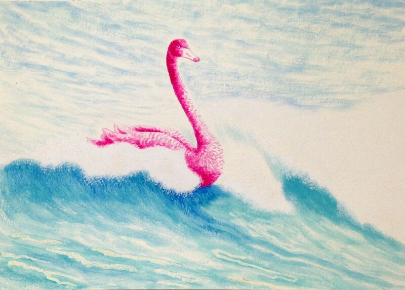 'Free Ride' from the watercolour series: 'Pink Swan Event'.