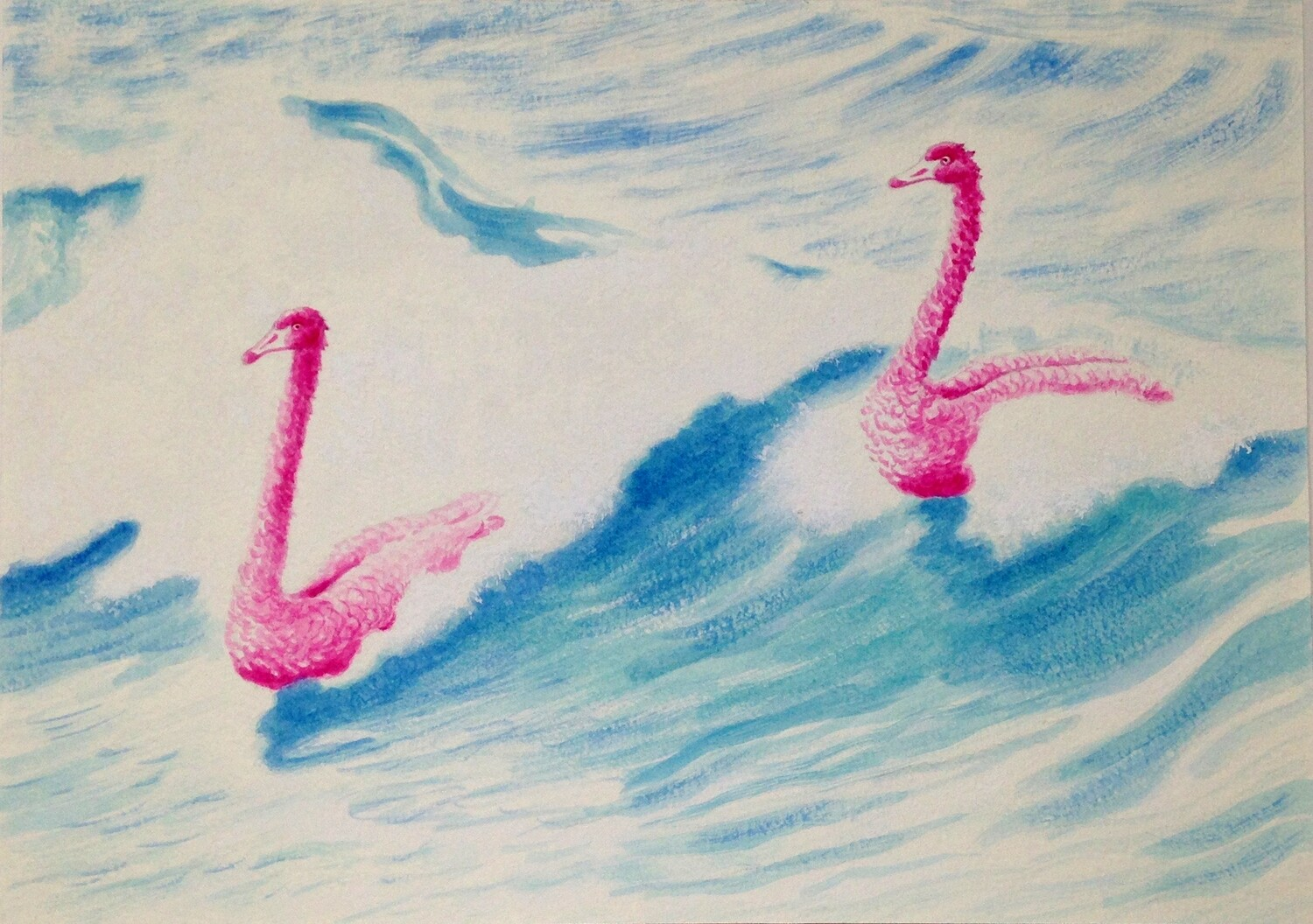 'Ruffled Feathers' from the watercolour series: Pink Swan Event'.