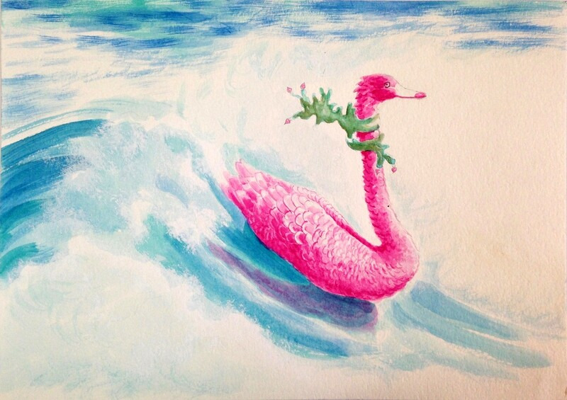 'Gourmet Seaweed' from the watercolour series: 'Pink Swan Event' .