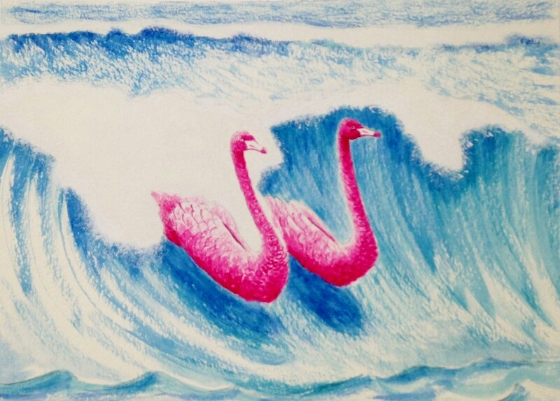 'Tickled Pink Together'  From the watercolour series 'Pink Swan Event'.