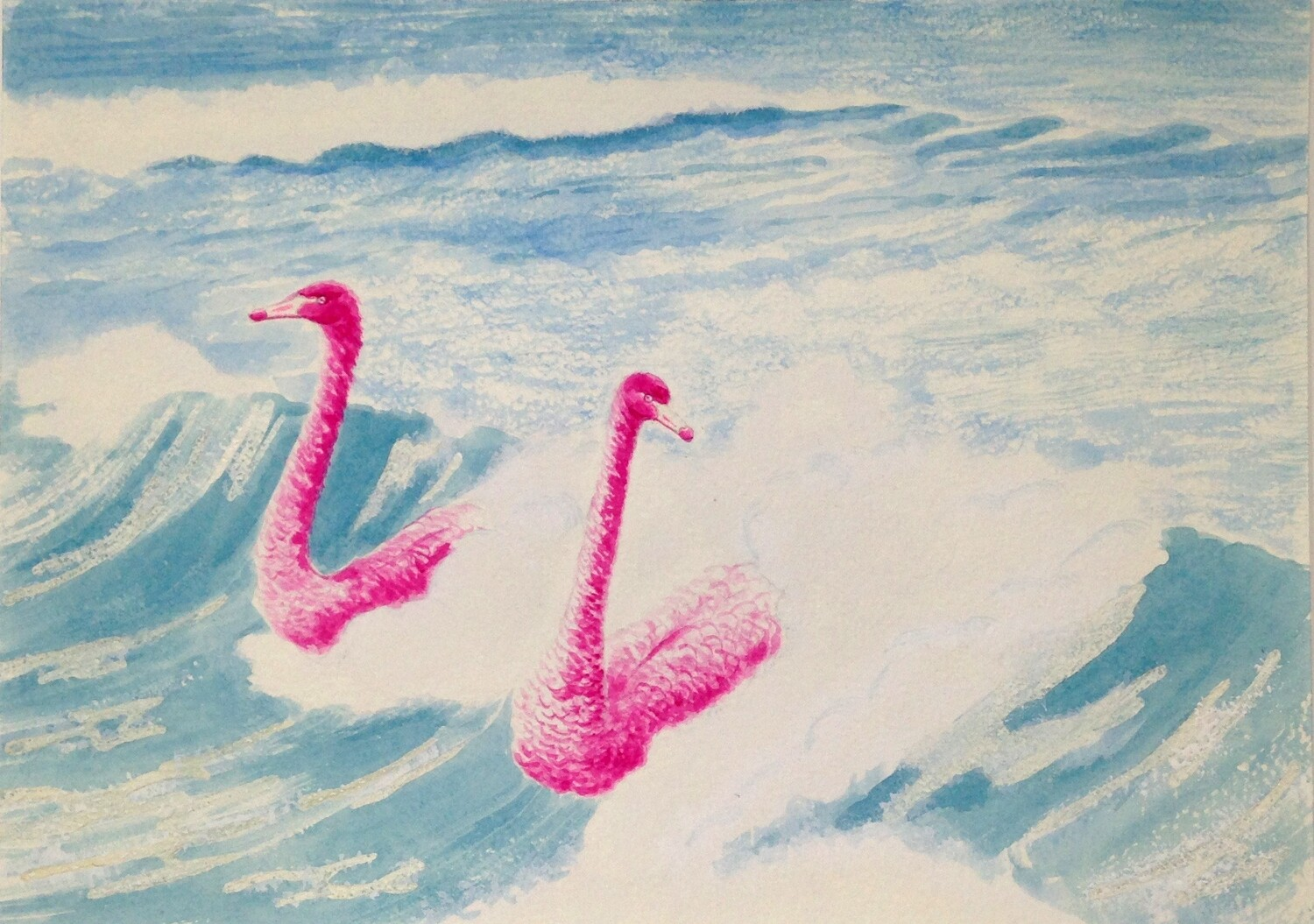 'Coast is Clear' from the watercolour series 'Pink Swan Event'