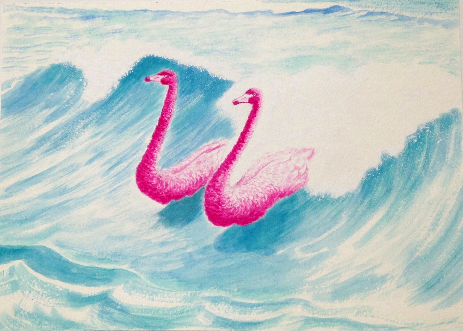 'Serene Harmony' from the watercolour series: 'Pink Swan Event'