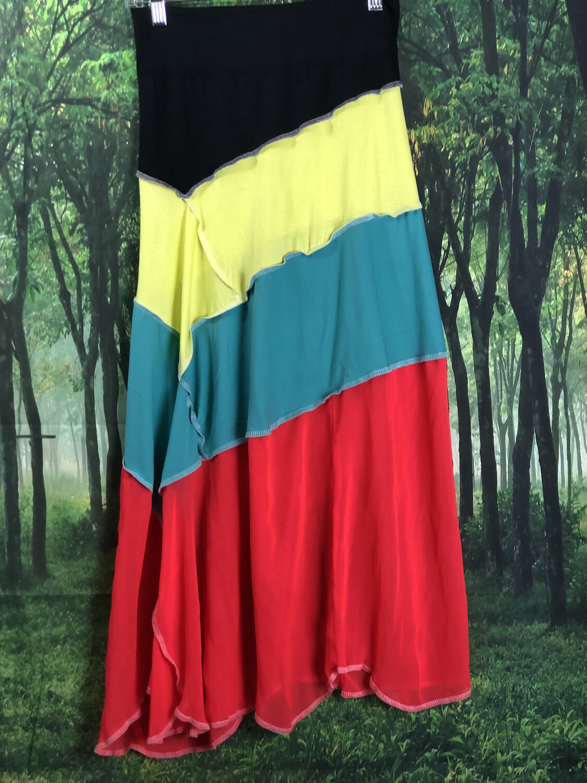 Multicolor Asymmetrical Comfort Band Skirt