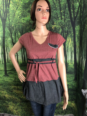 S Threads Brick Red Checkered Refashion Upcycle Handmade Cotton Top Size S