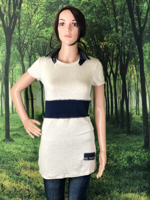 S Threads Upcycled Beige Collared Top W Navy Men's Shirt