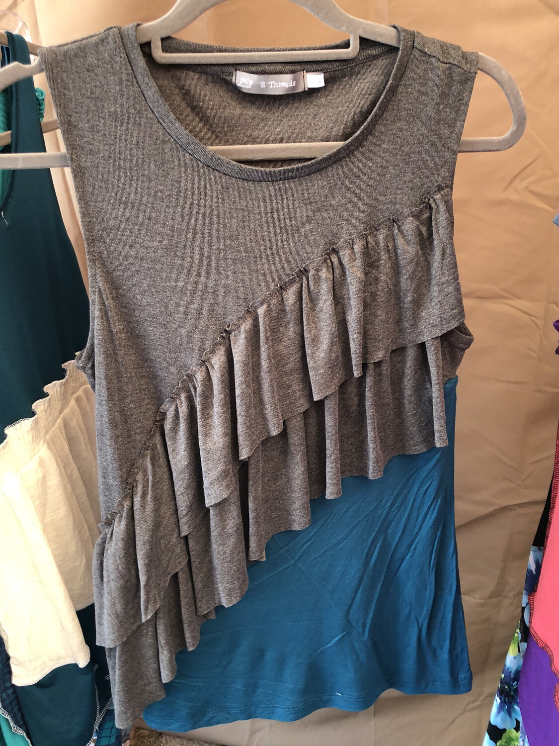 Gray And Teal Ruffle Top