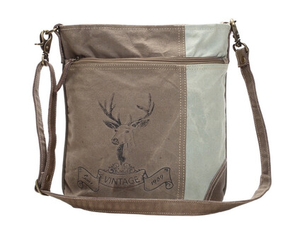 Myra Bag Reindeer Print Shoulder Bag Leather Canvas