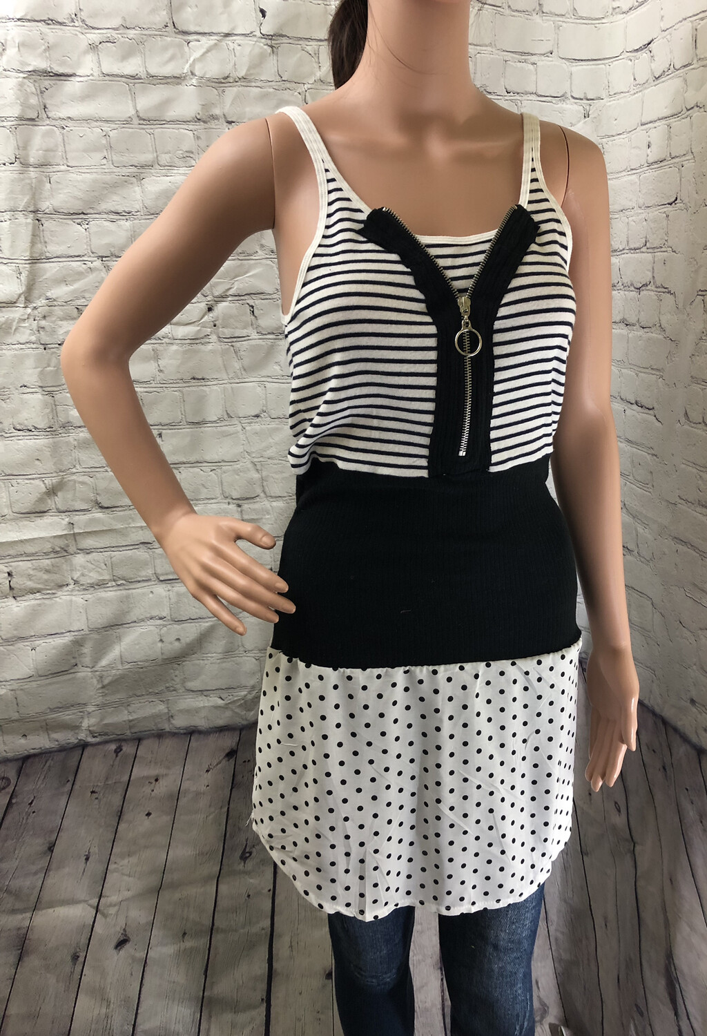 Striped Upcycle Top Zipper Detail