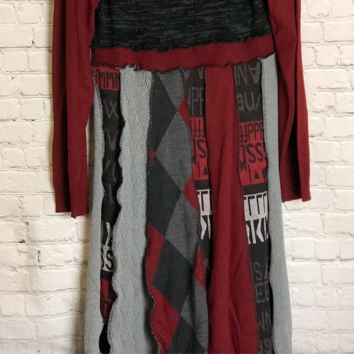 S Threads Upcycled Burgundy Sweater Panel Long Dress