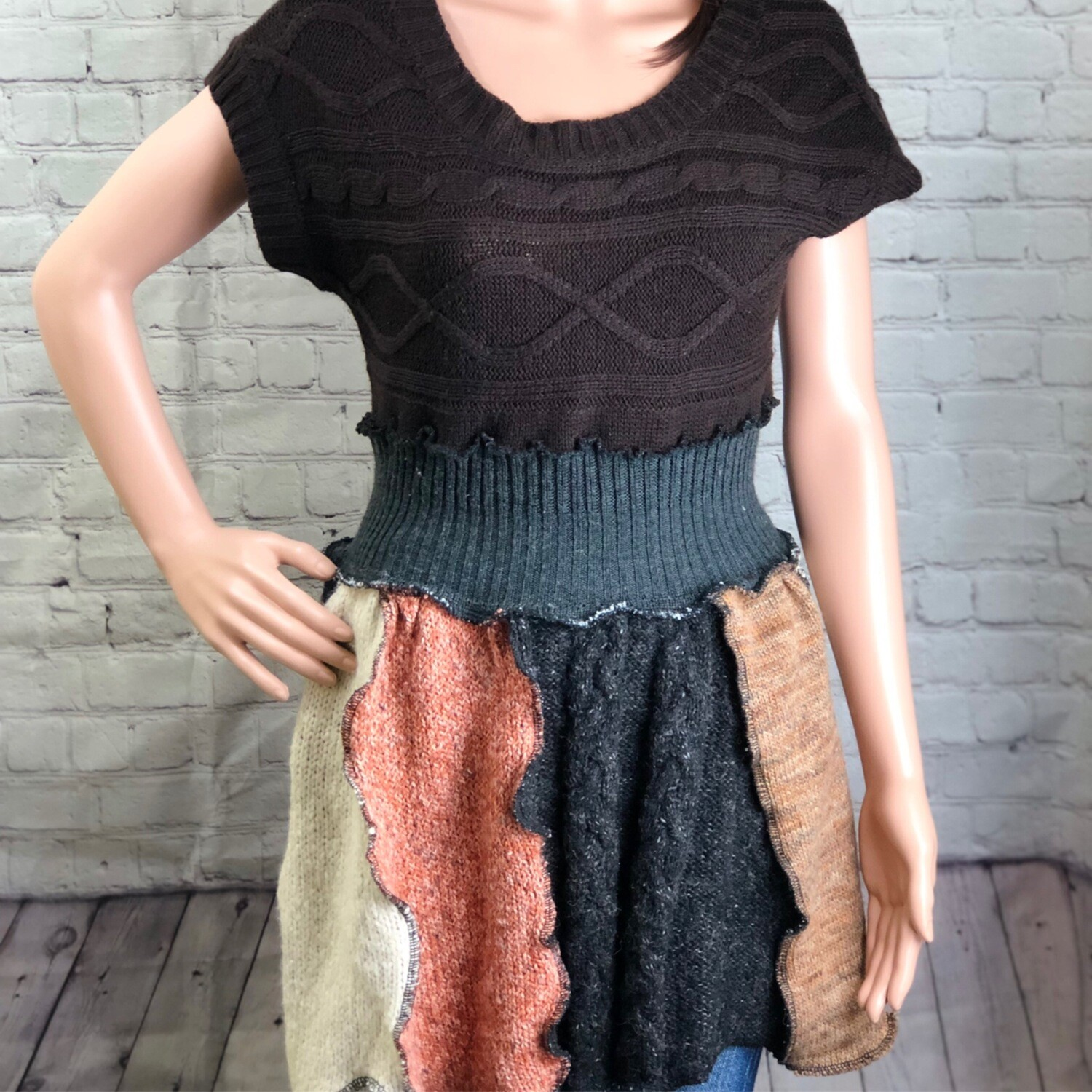 SThreads Upcycled Recycled Brown Short Sleeve Recycled Panel Sweater Babydoll Top dress tunic bohemian eco friendly Katwise Inspired Size L