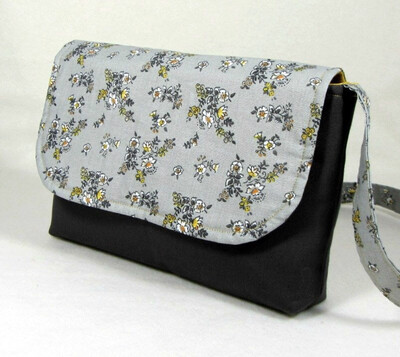 Handmade Purse Crossbody Gray & yellow