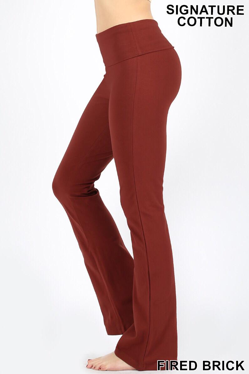 Cotton Flare Pants Fire Brick W/ Yoga Band Size Small