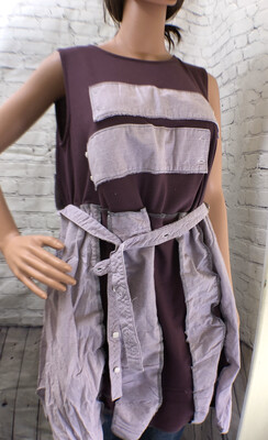 S Threads Upcycled Plum Sleeveless Top With Men's Button Up Pieces Redo Repurposed Fashion Size L