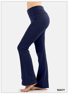 Cotton Navy Flare Pants Yoga Band Size Large