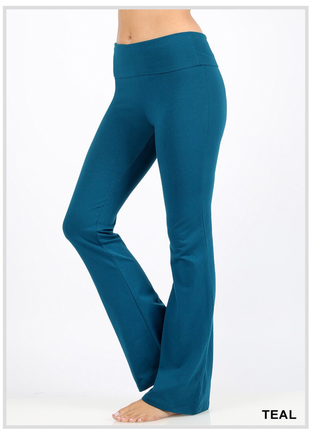 Cotton Flare Pants Teal Yoga Band Size Large